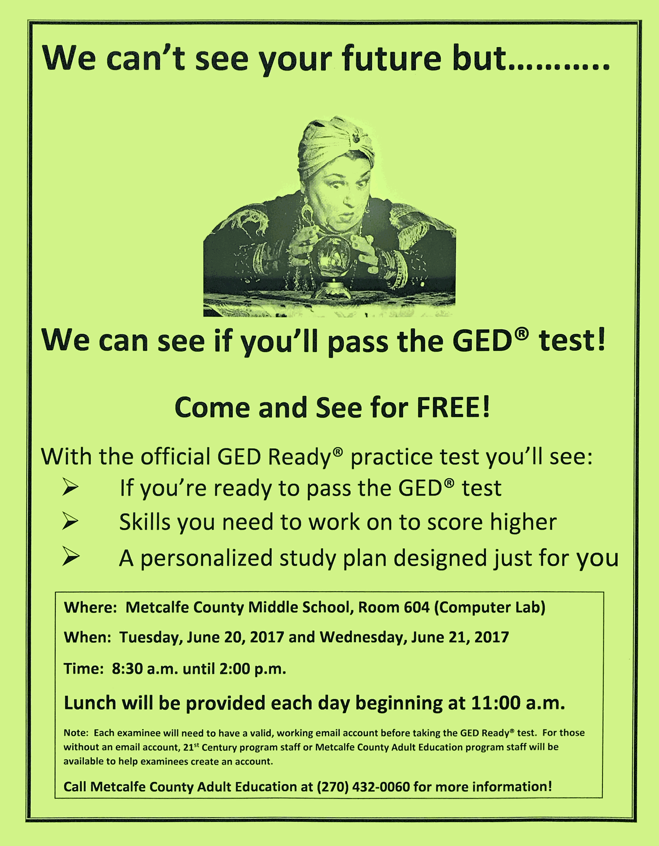 GED Test flyer